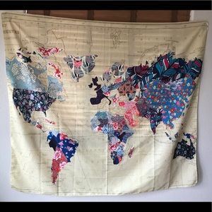 """Tapestry World Map 🗺Floral Pattern 50x56"""""""